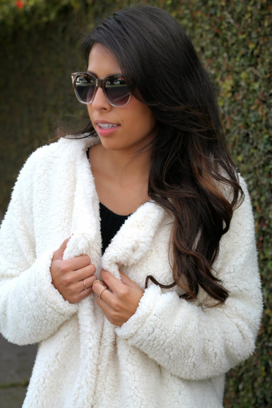 fuzzy jacket, how to style white jacket , target style, holiday in los angeles, pursuit of shoes