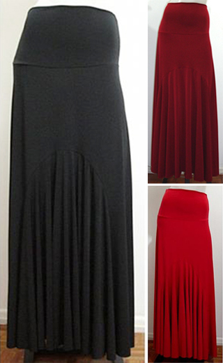 Skirt Alamanda 015-2 Solid colors BLACK, RED or BURGUNDY - US$85.00