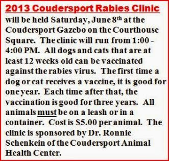 6-8 Rabies Clinic-Coudersport