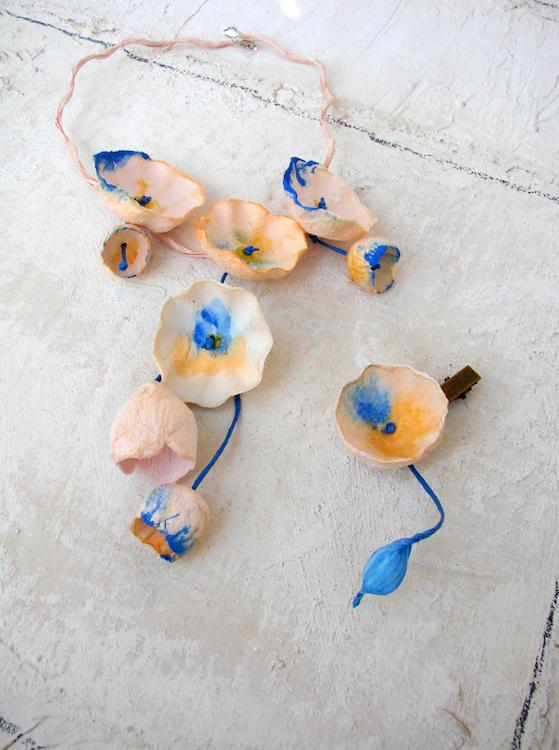 Eco gioielli: collane di carta dipinta a mano per Abilmente fiera, atelier del bijoux