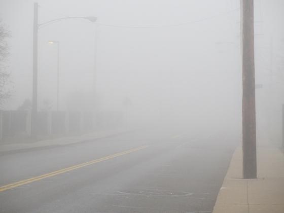 foggy street Detroit