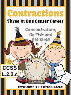 http://www.teacherspayteachers.com/Product/New-Years-Themed-Contractions-Center-Games-Interactive-Notebook-Activities-1018310