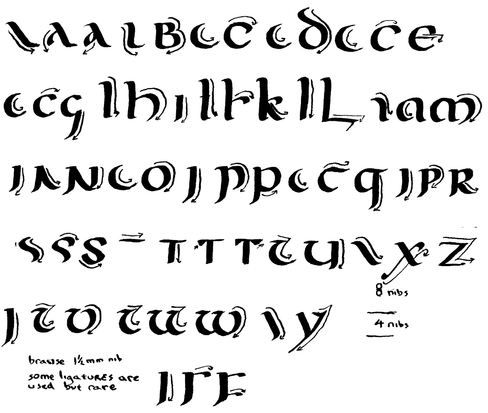 Calligraphy Alphabet : uncial calligraphy