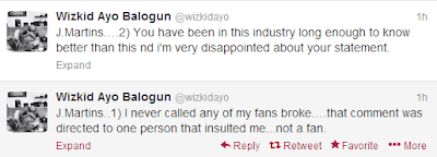wizkid replies jmartins for broke comment