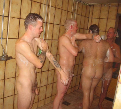 How many men shower naked in the gym with other men happily.