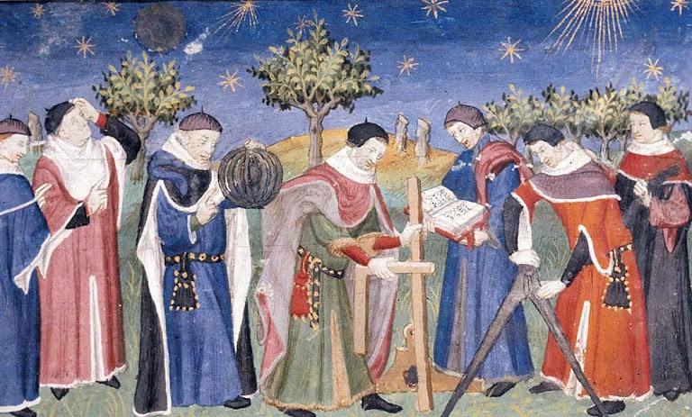 Clérigos estudam astronomia e geometria (França, iluminura de inícios do século XV). A Igreja Católica lançou as bases racionais das ciências modernas