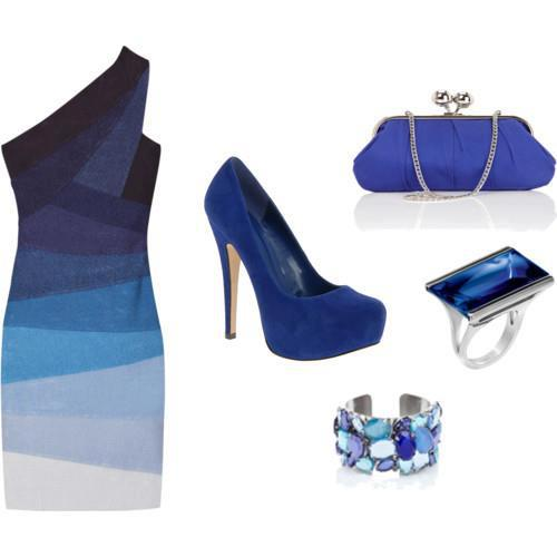 Dark blue gown, high heel shoes, ring and hand bag for ladies
