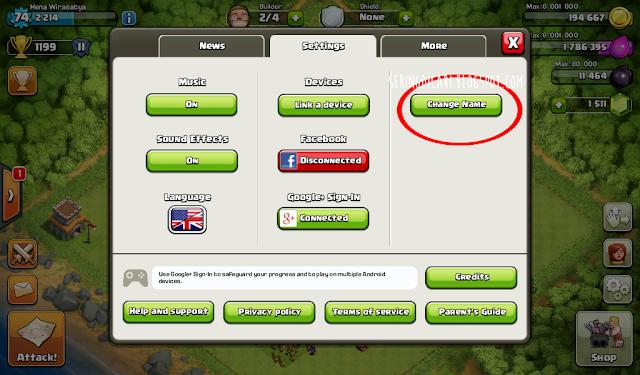 Cara Cepat Mengganti Nama  Nickname Clash of Clans COC Terbaru