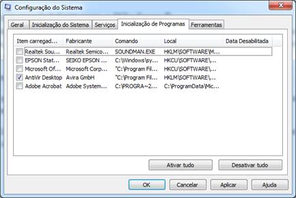 Desativando programas que iniciam com o Windows 7