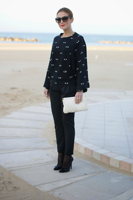 Kenzo eye print kimono sweatshirt, Miu Miu clutch, Loriblu pumps, Fashion and Cookies, fashion blogger