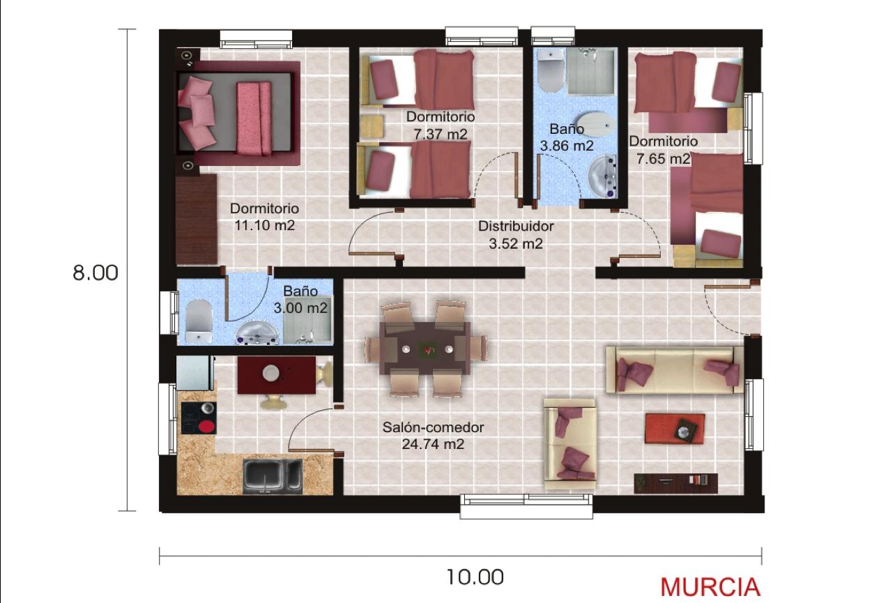 Casas prefabricadas y modulares planos standard for Planos de casas 80 mts2