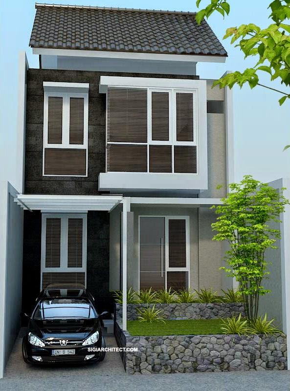 Contoh Gambar Desain Rumah Mungil 2 Lantai Modern