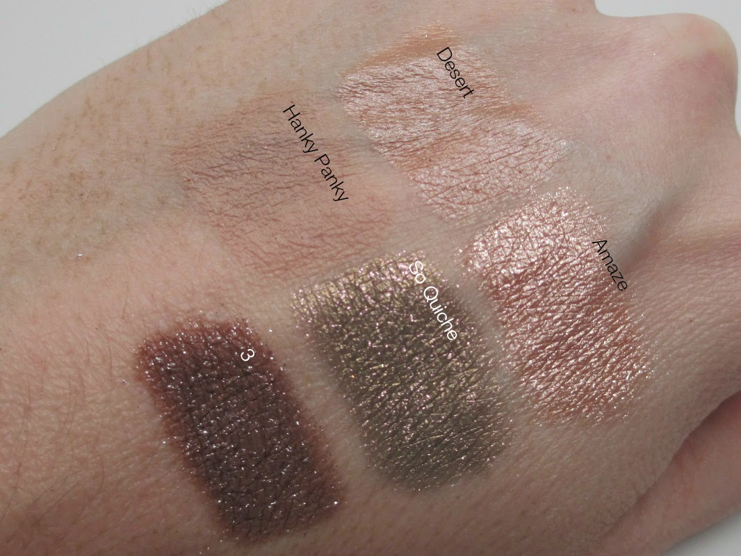Colour Pop, swatches, So Quiche, Amaze, 3, Hanky Panky, Desert