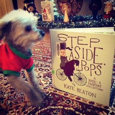 A hardcover copy of Step Aside, Pops appears upright on a red patterned carpet. Murchie backs away from it, one paw raised. He is blurred while the book is in focus.