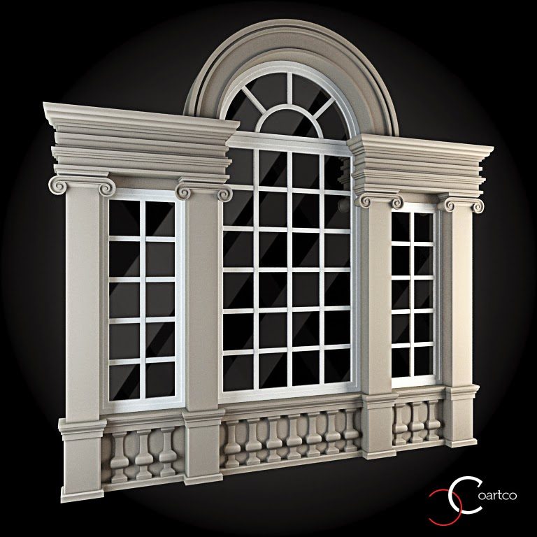 Ornamente Geamuri Exterior, fatade case cu profile decorative polistiren, profile fatada,  Model Cod: WIN-073