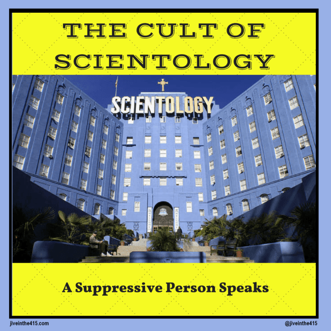 "A photograph of the Scientology owned property on Fountain Avenue in Los Angeles, Califonia, and the text ""The Cult Of Scientology - A Suppressive Person Speaks"""