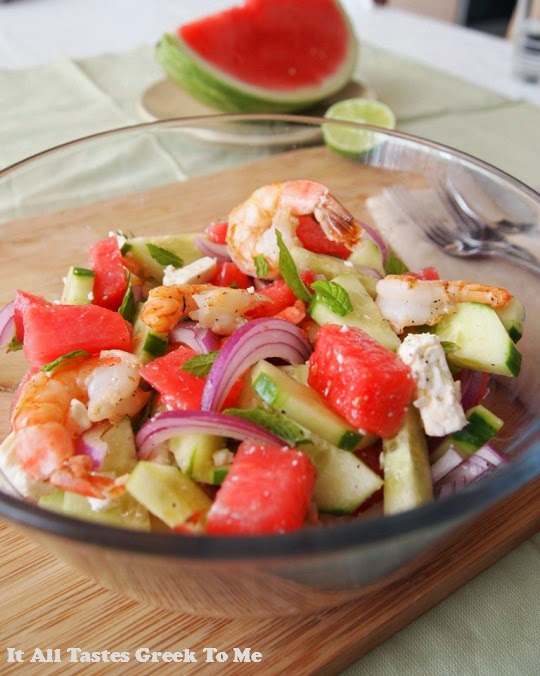 ... Shrimp with Tzatziki, and Spinach Salad with Orange and Feta recipes