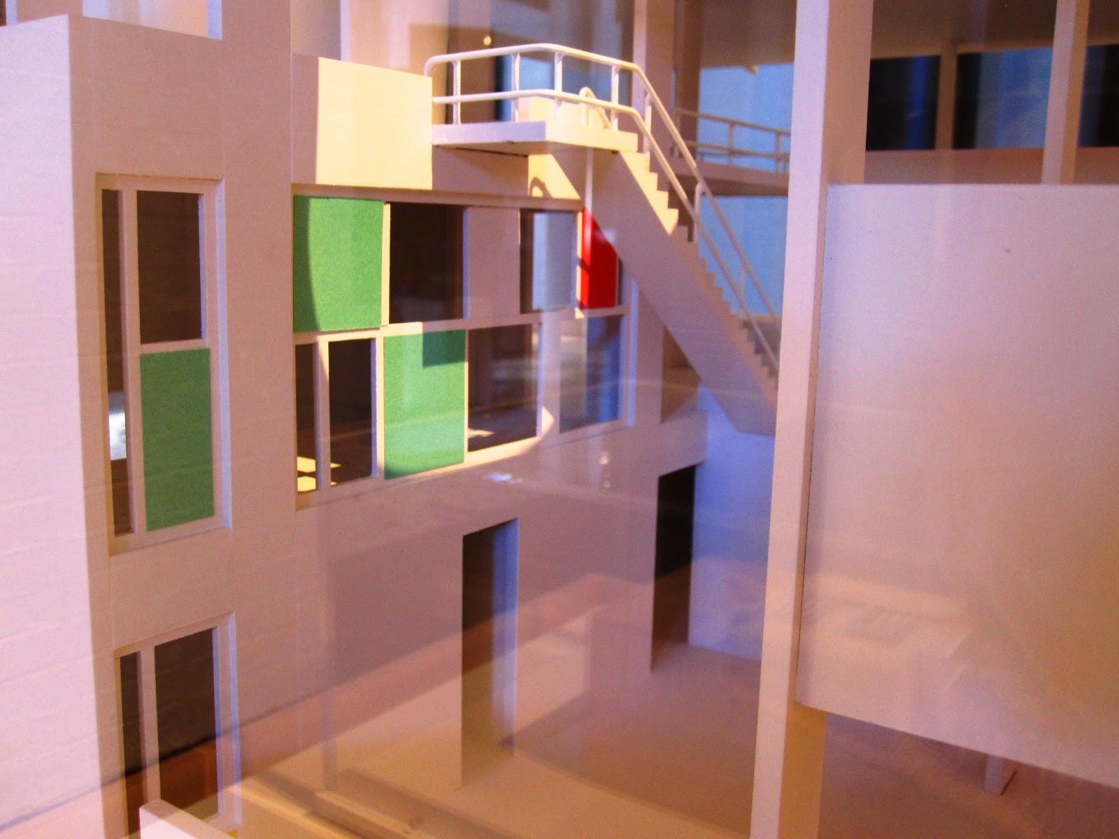 View of internal courtyard of a model of Le Corbusier's Villa Shodhan.
