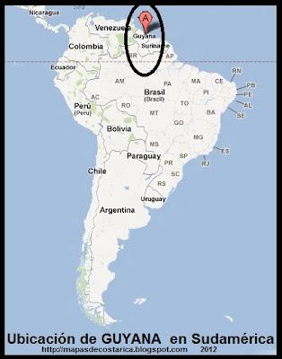 Ubicación de GUYANA en Sudamérica, Google Maps