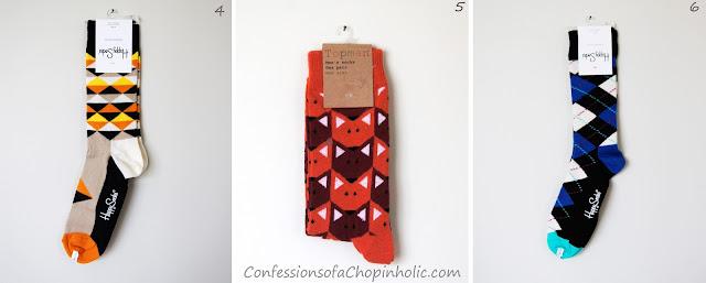 Socks Giveaway, confessions of a chopinholic, Happy Socks, Topman socks, orange triangle happy socks, blue argyle happy socks, orange fox topman socks, freebie