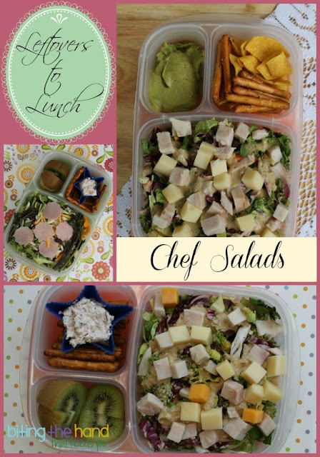 Use leftover meat and cheese chunks or bento scraps to make a Chef Salad!