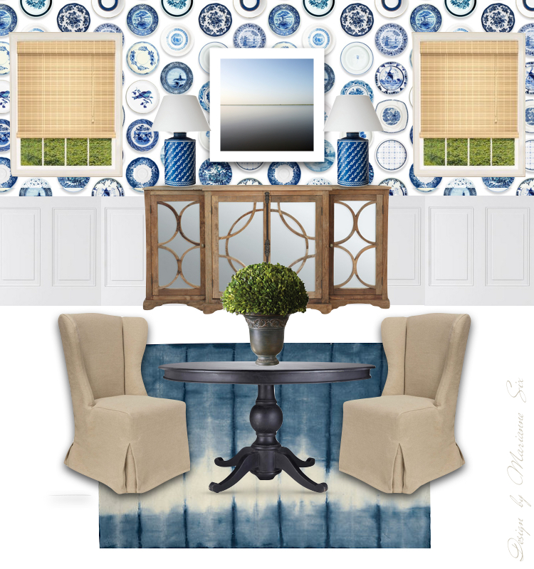 A virtual dining room with a quirky wallpaper the for Quirky dining room ideas