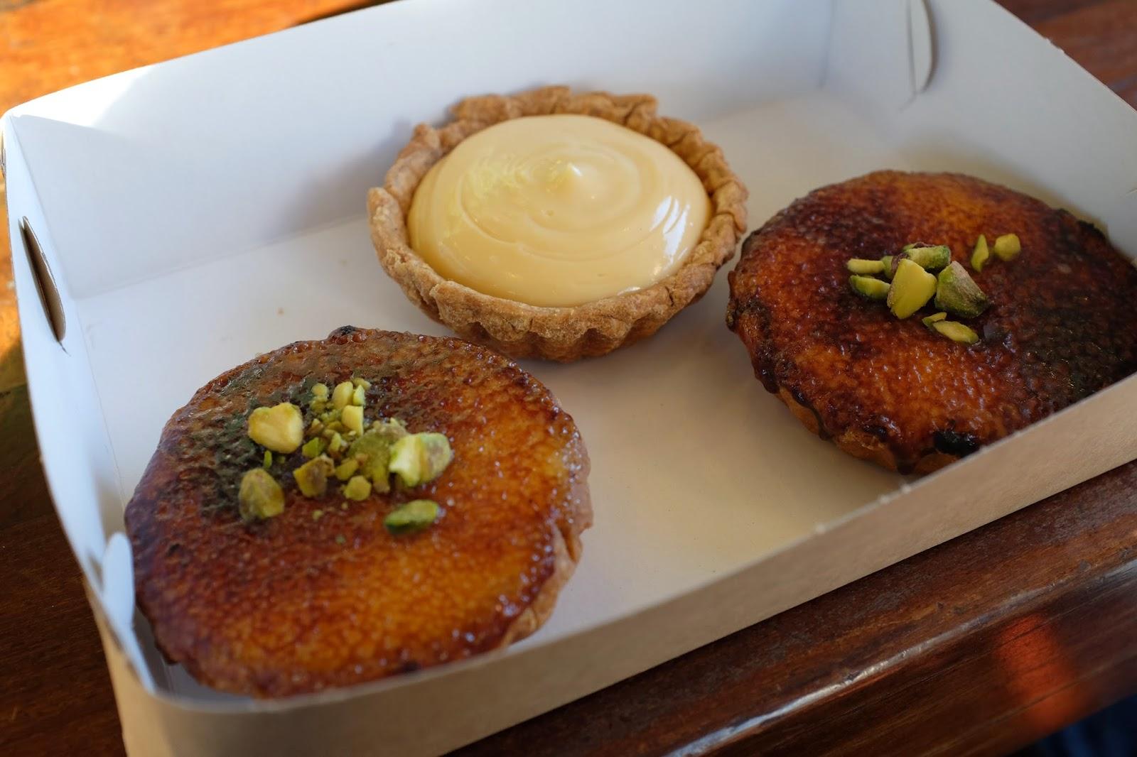 ginger brulee tarts and lemon curd tart to bring home to Melbourne :)