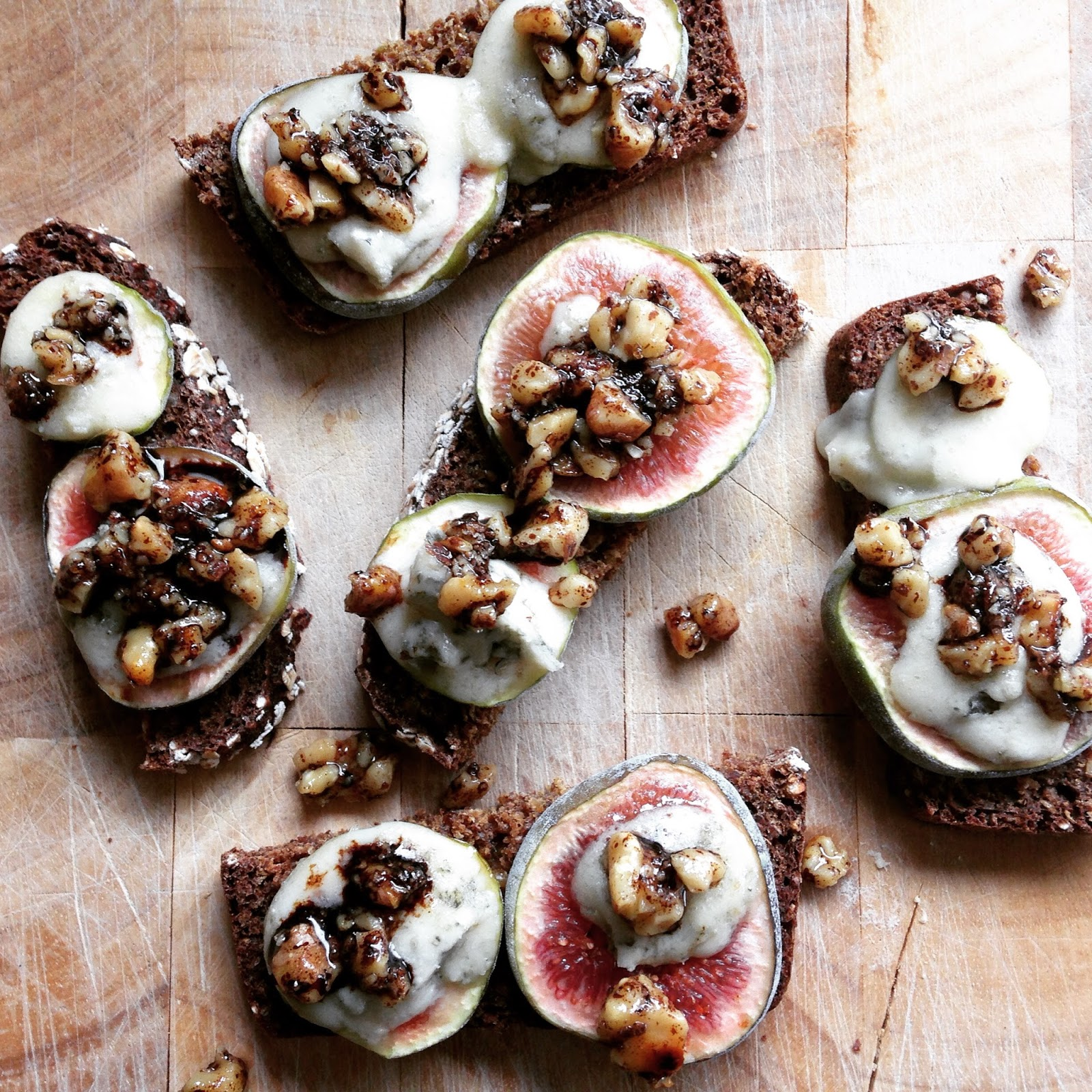 Baked Figs, Crozier Blue and Crushed Candied Walnuts