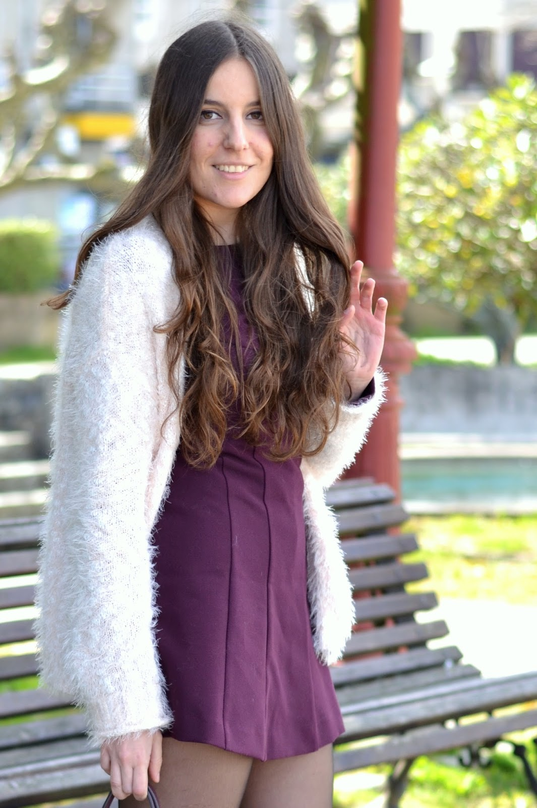 Zara purple jumpsuit, bershka fuzzy pink jacket