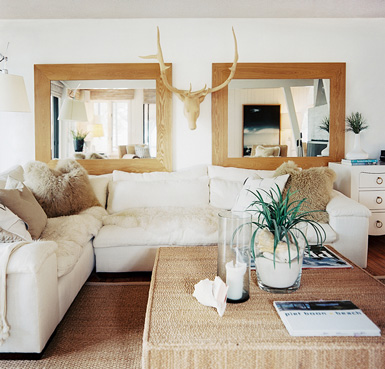 Superb  A pair of mirrors with a D object in between like these wooden antlers