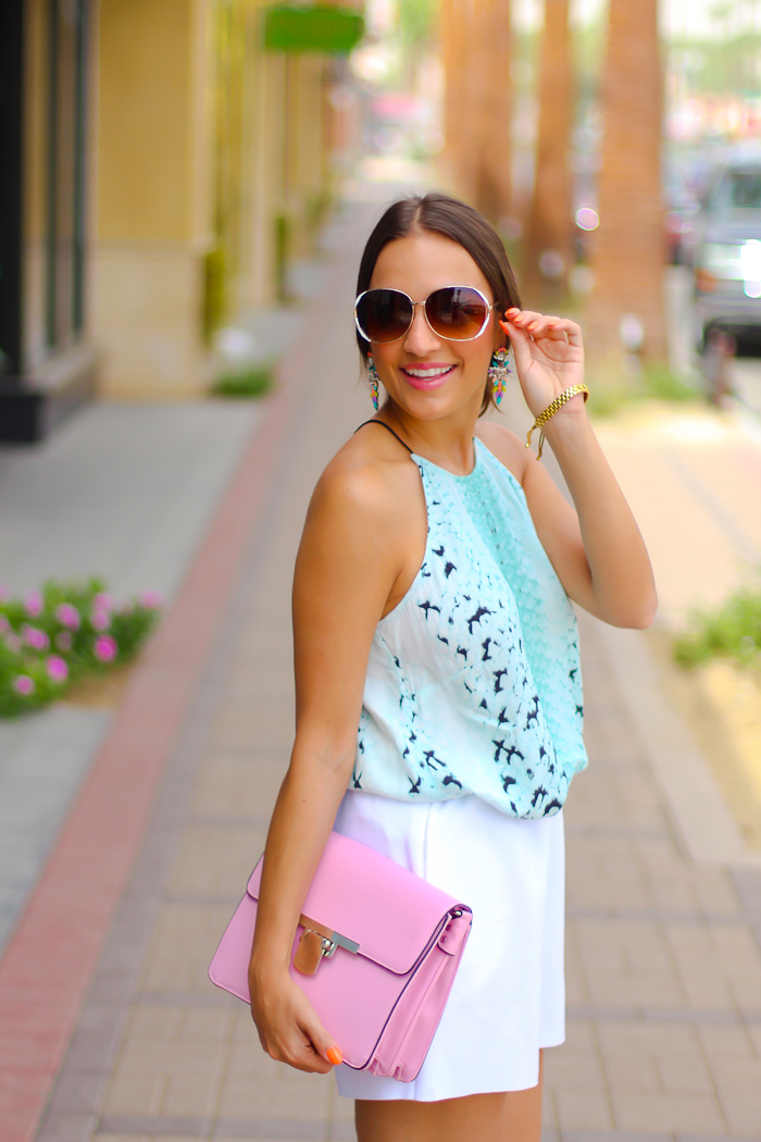 pink and teal combination summer look love olia, zerouv sunglasses