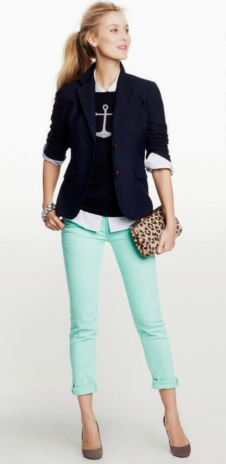 Blue Coat And Leopard Handbag