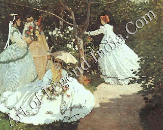 Women in the Garden Monet painted this eight-foot high canvas entirely out-of-doors in 1866-7. According to the painter Gustave Courbet, who visited him, Monet would not paint even the leaves in the background unless the light was just right.