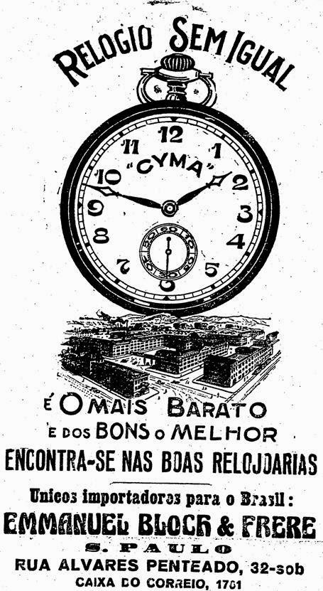 Propaganda de 1926 dos Relógios de Bolso Cyma - São Paulo.