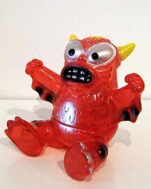 FOE Gallery Exclusive Clear Red Mini Sitting Greasebat Vinyl Figures by Monster Worship & Jeff Lamm