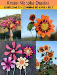 Sunflowers + Zinnias to Knit + Felt
