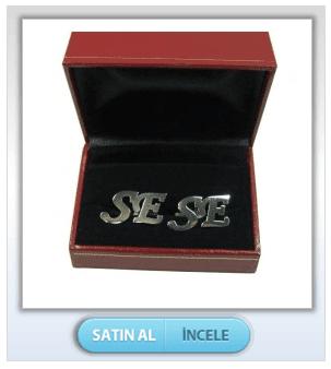 İki Harfli Kesimli 925 Ayar Gümüş Kol Düğmesi