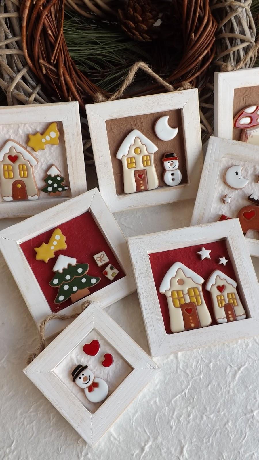 Ceramica come mestiere piccoli quadri natalizi renna albero pupazzo di neve casette innevate - Pinterest natale ...