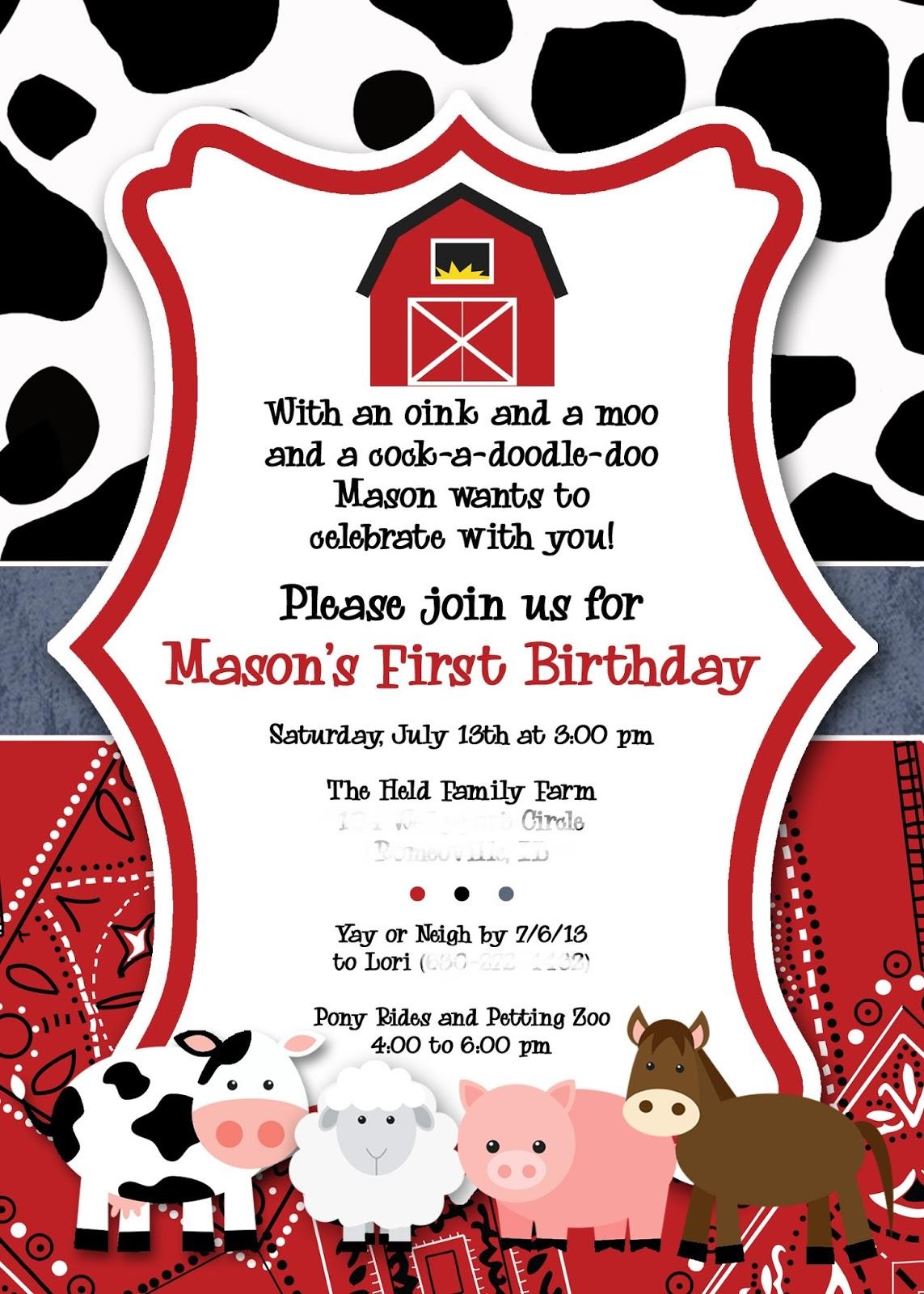The Held Family Happenings: Mason\'s 1st Birthday - Down on the Farm ...