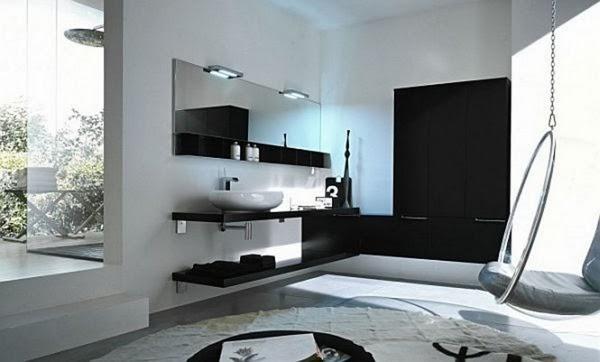 Baños Minimalistas Elegantes:Cuarto de baño elegante y moderno donde las superficies reflectantes