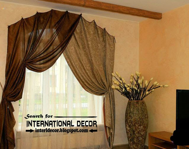 luxury curtains,brown curtains,arched curtains,curtain hanged by hooks,curtain hooks