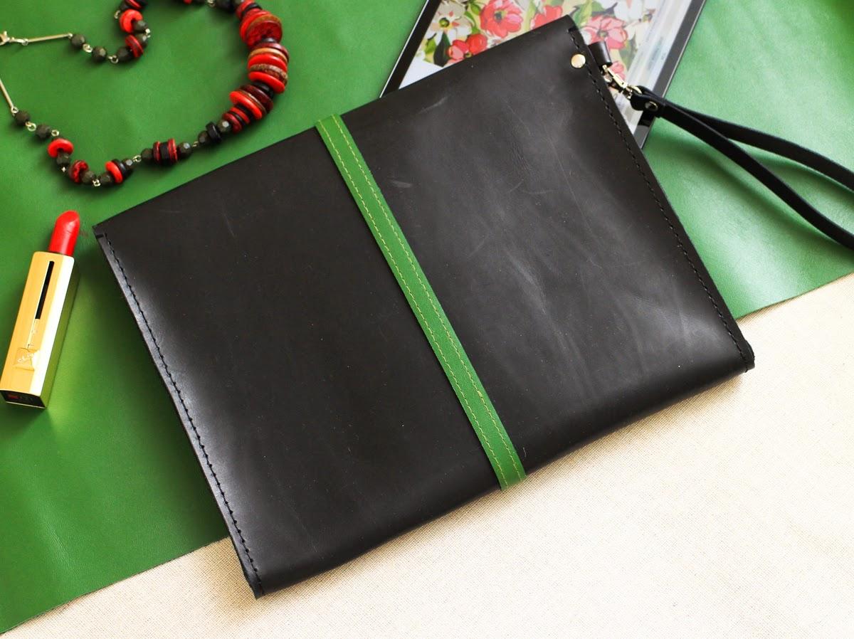 Кожаный клатч папка для планшета