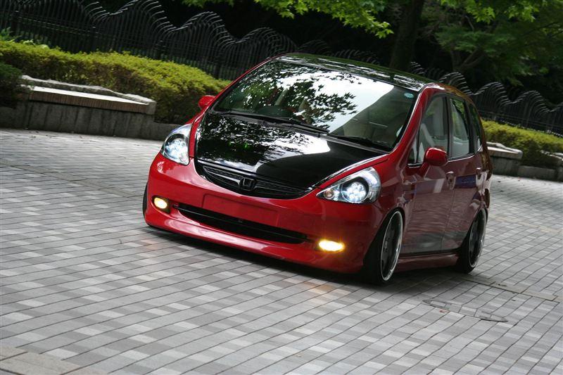 Honda Fit, Jazz, auta po tuningu, pasja, modyfikacje, czerwona