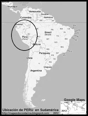Ubicación de PERU en Sudamérica, Google Maps, blanco y negro