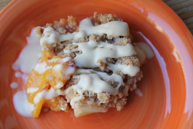 Delectable Edibles: Peach Crisp with a Maple Cream Sauce