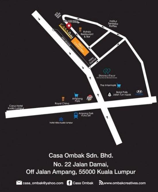 panduan peta lokasi buffet ramadhan casa ombak, kuala lumpur