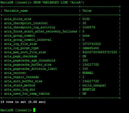 configuración de MariaDB