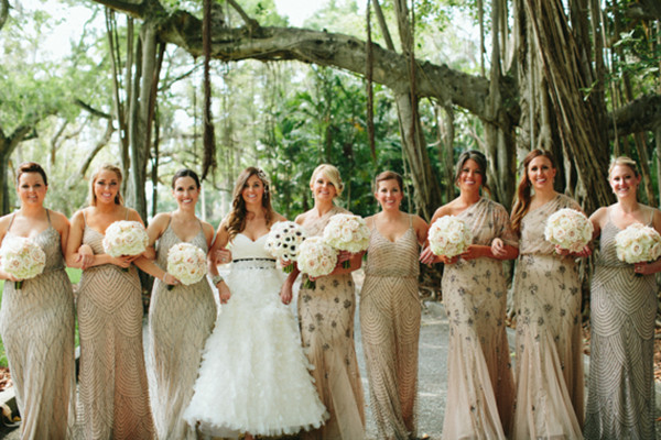 shinning bridesmaids dresses