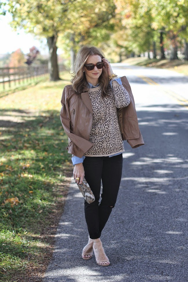 autumn sweater, jcrew jeans, steve madden heels, snake print clutch,