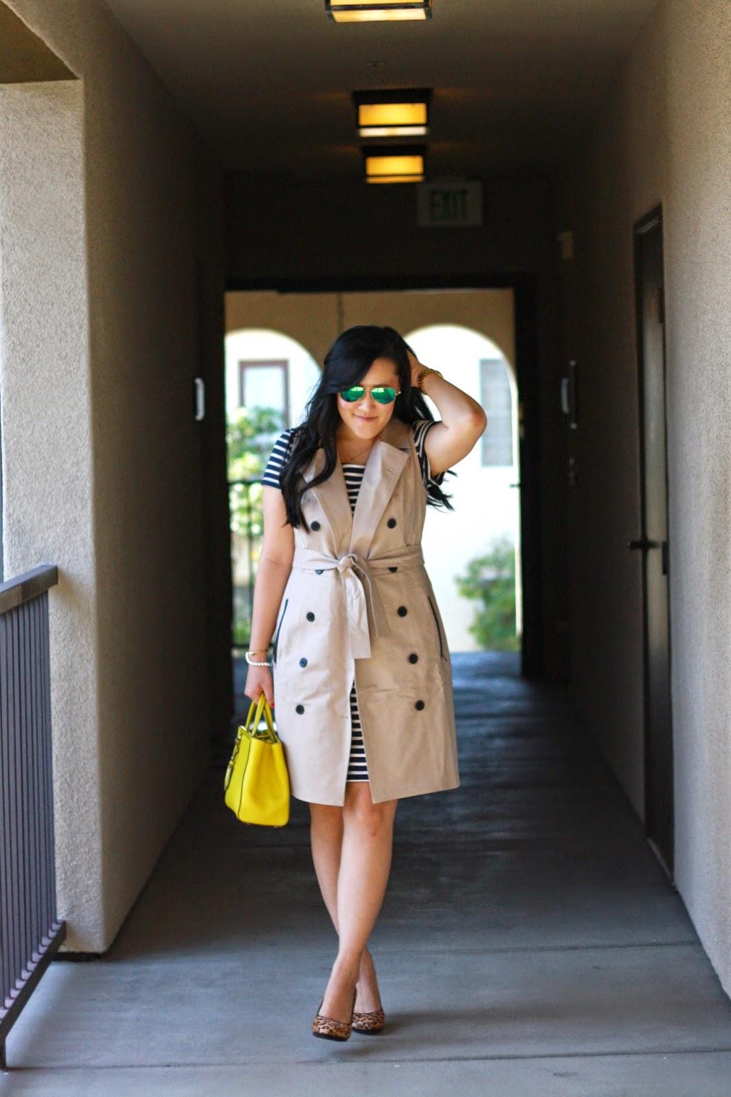 simplyxclassic, fendi2jours, ray ban, ann taylor sleeveless trench, franco sarto leopard pumps, fendi 2 jours, loft stripe dress, blogger, fashion, style, orange county, southern california